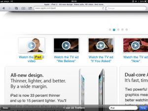 Der gesuchte Text wird auf der Webseite farbig hervorgehoben