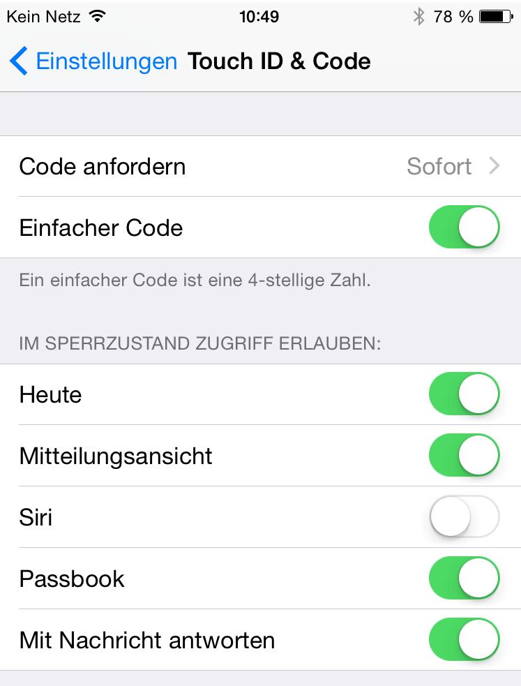 Menü Touch ID und Code Siri abschalten